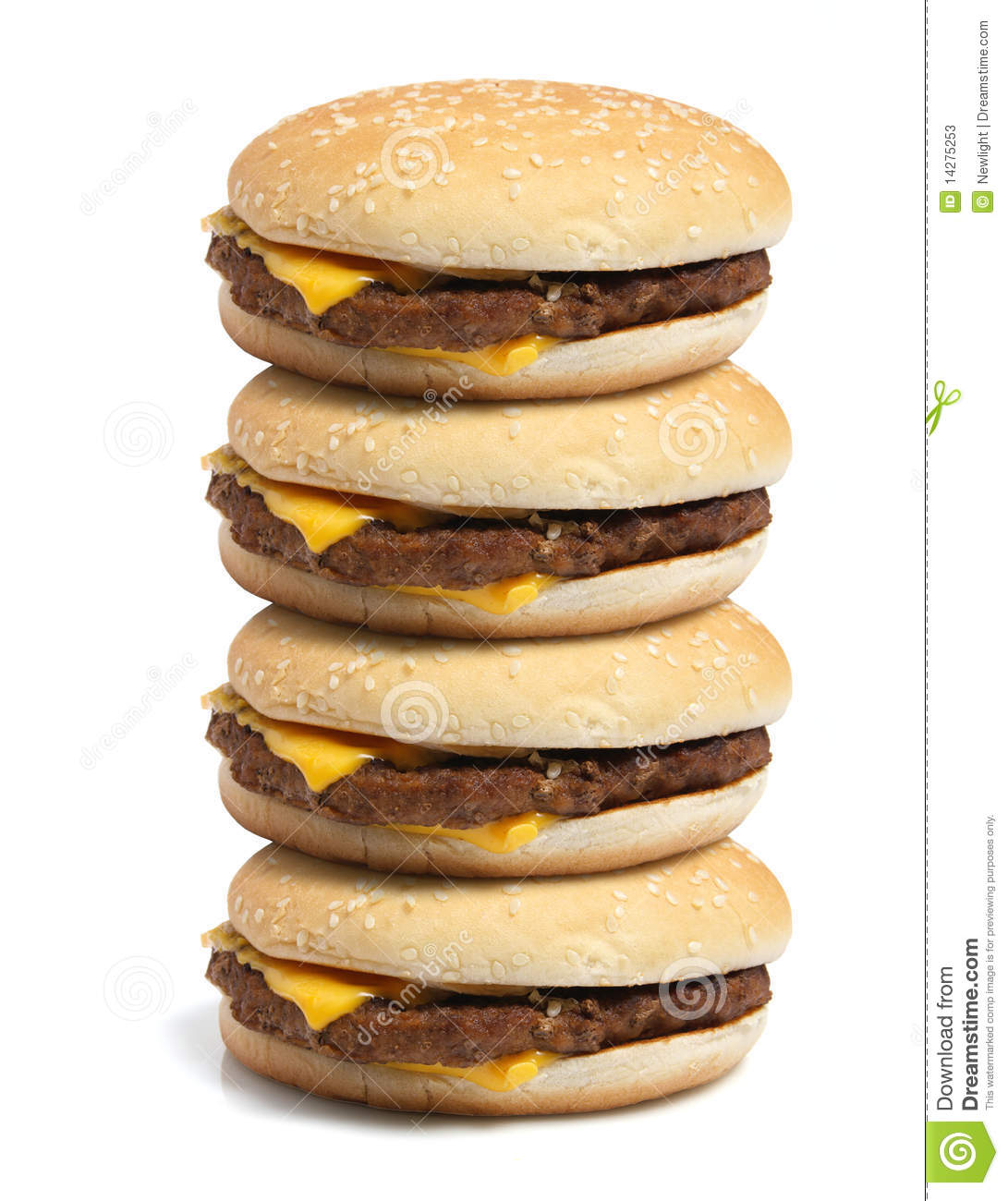Stack Of Hamburgers Stock Photos - Image: 14275253