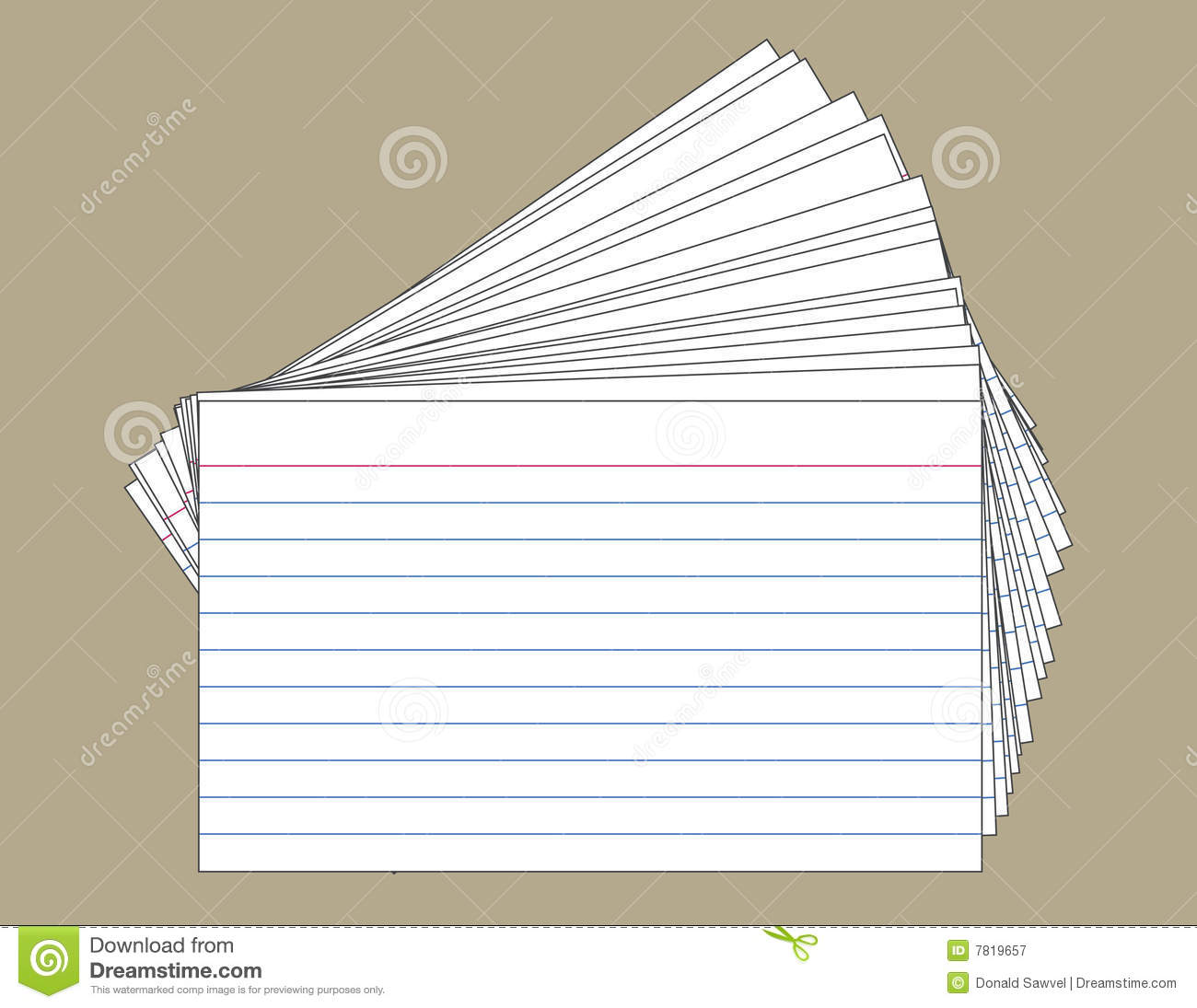 Printing On Index Cards: Stack Of Index Cards Stock Vector. Illustration Of Lined
