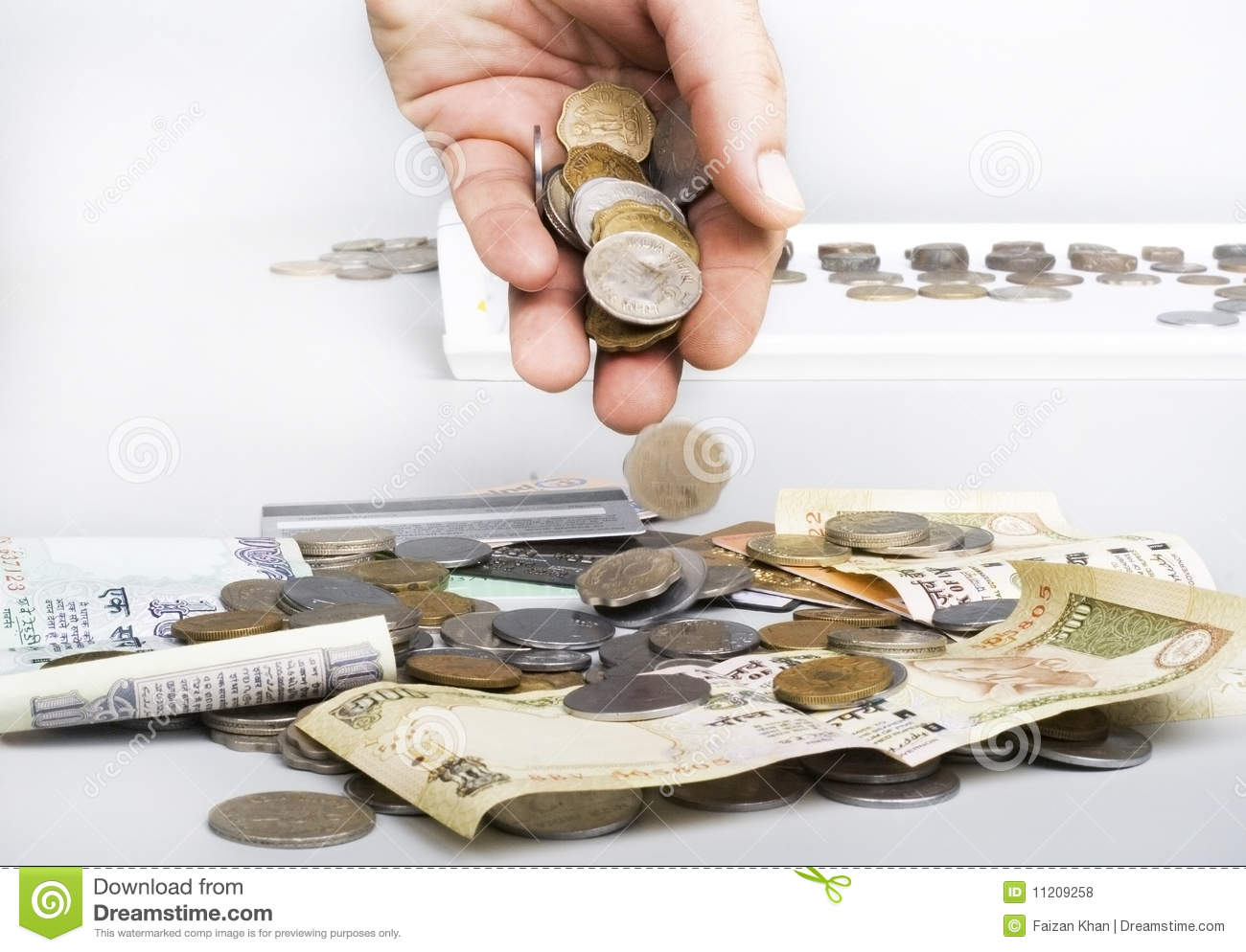 Justice scale stock image image 605751 - Stack Of Indian Currency Coins And Notes And Hand Royalty Free Stock Photos