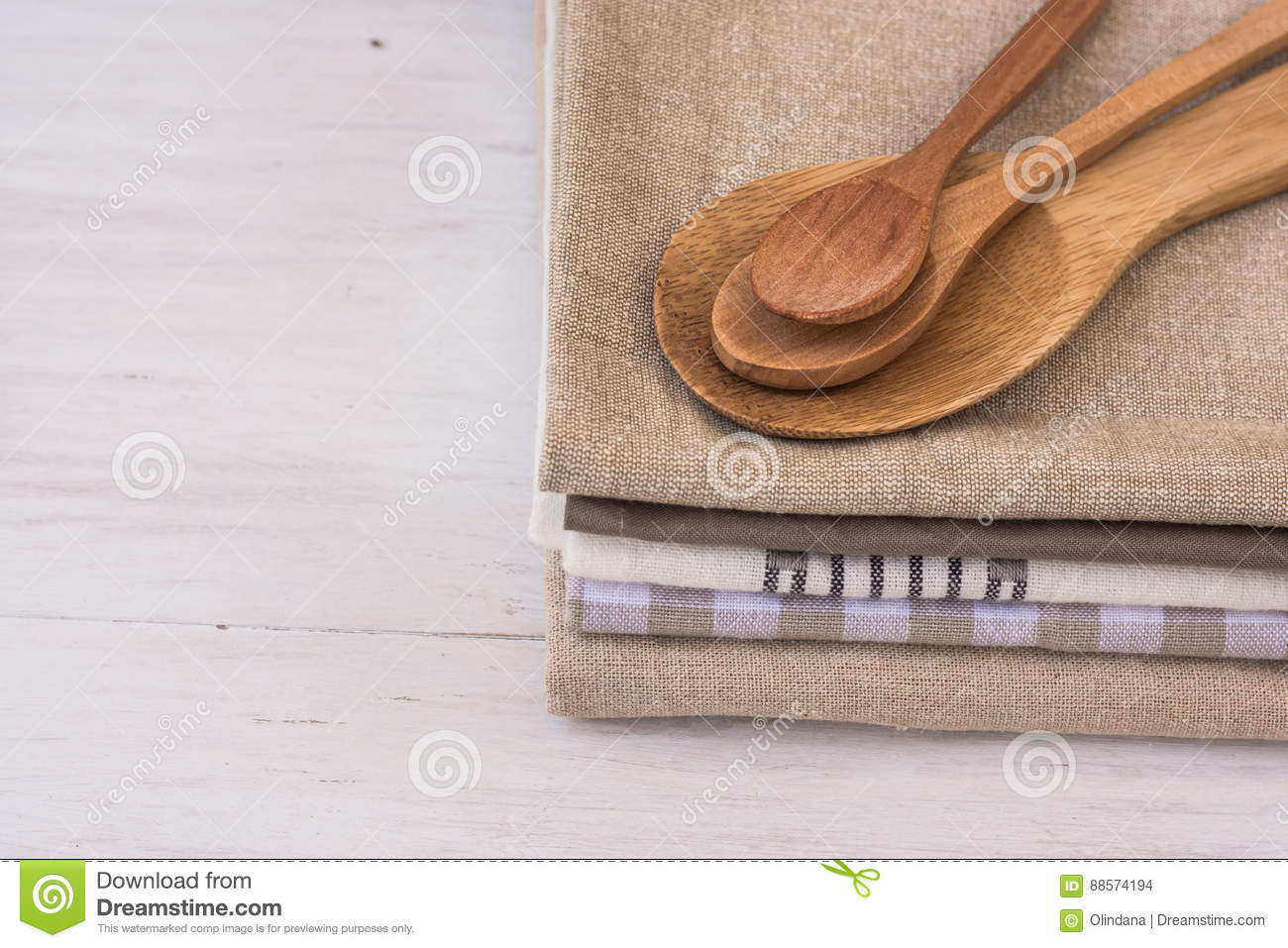 Stack Of Linen Cotton Kitchen Towels, Handmade Wooden Spoons ...