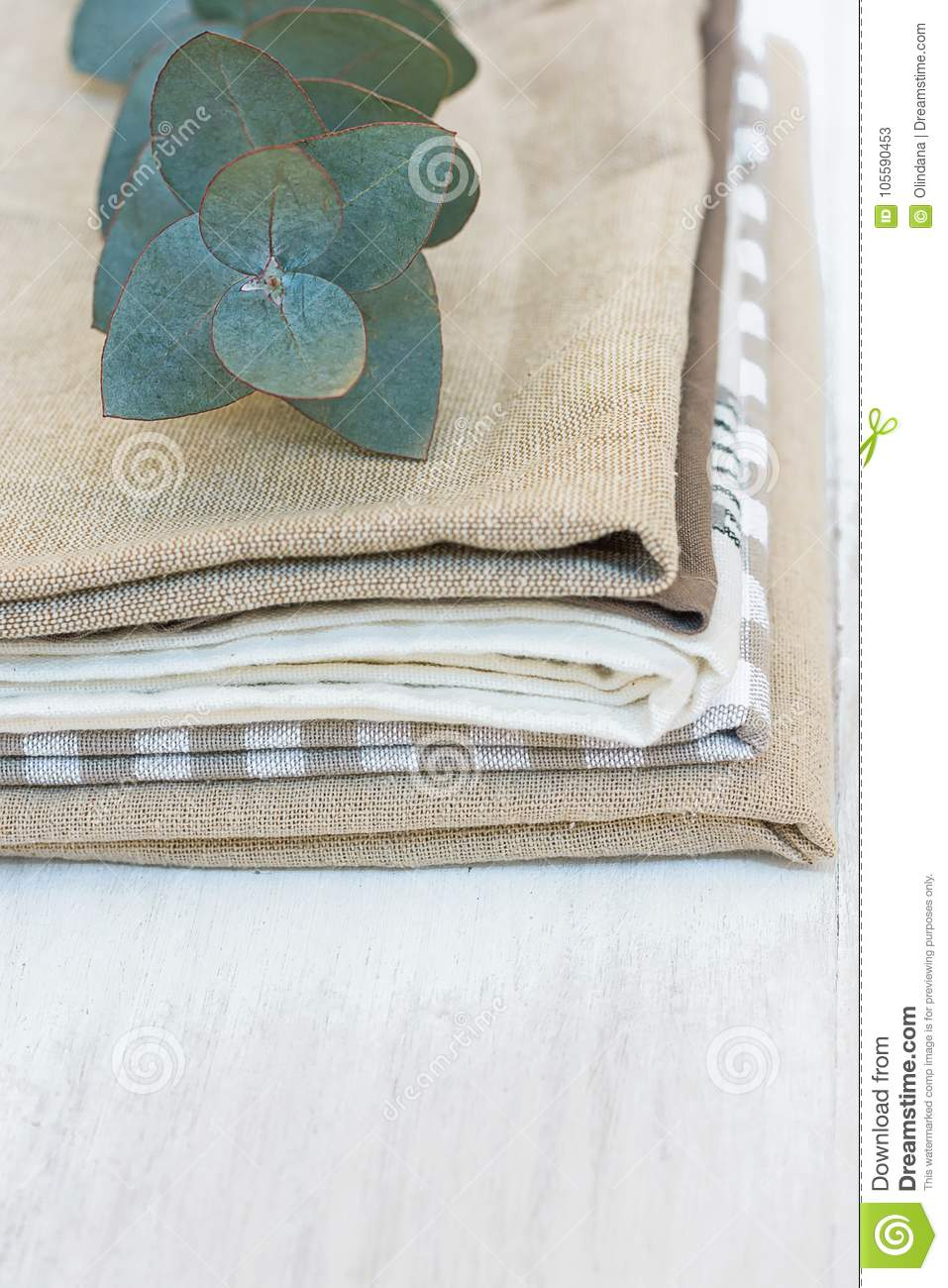 Stack Of Linen And Cotton Kitchen Towels Napkins Silver Dollar ...
