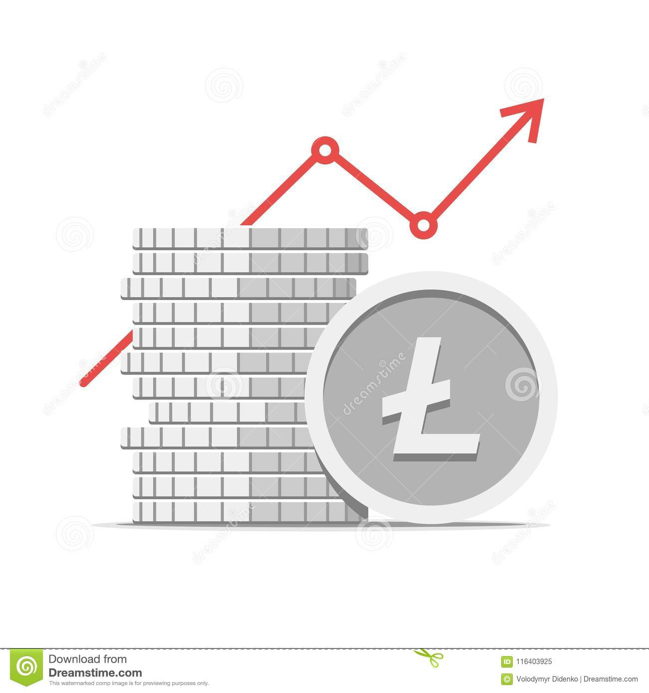 Download Stack Of Litecoin Cryptocurrency With Growth Value Graph Vector Flat Modern Isolated Crypto Illustration