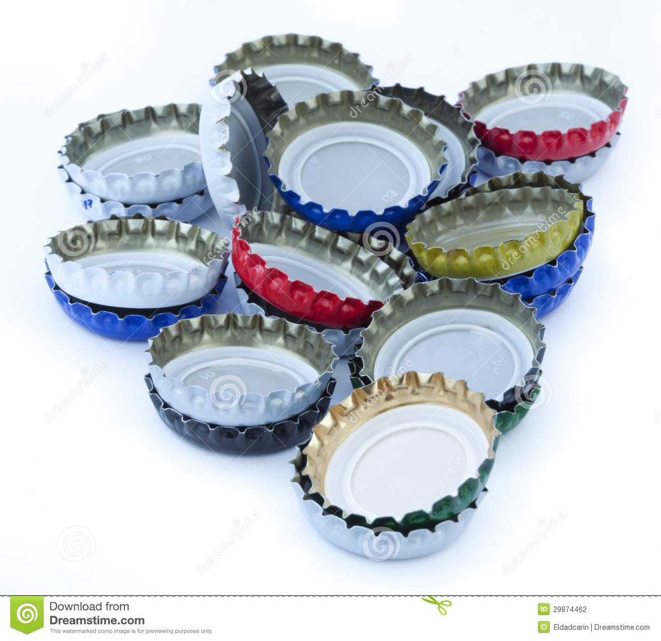 Isolated metal bottle caps pile stock photo image 29874462 for How to use bottle caps