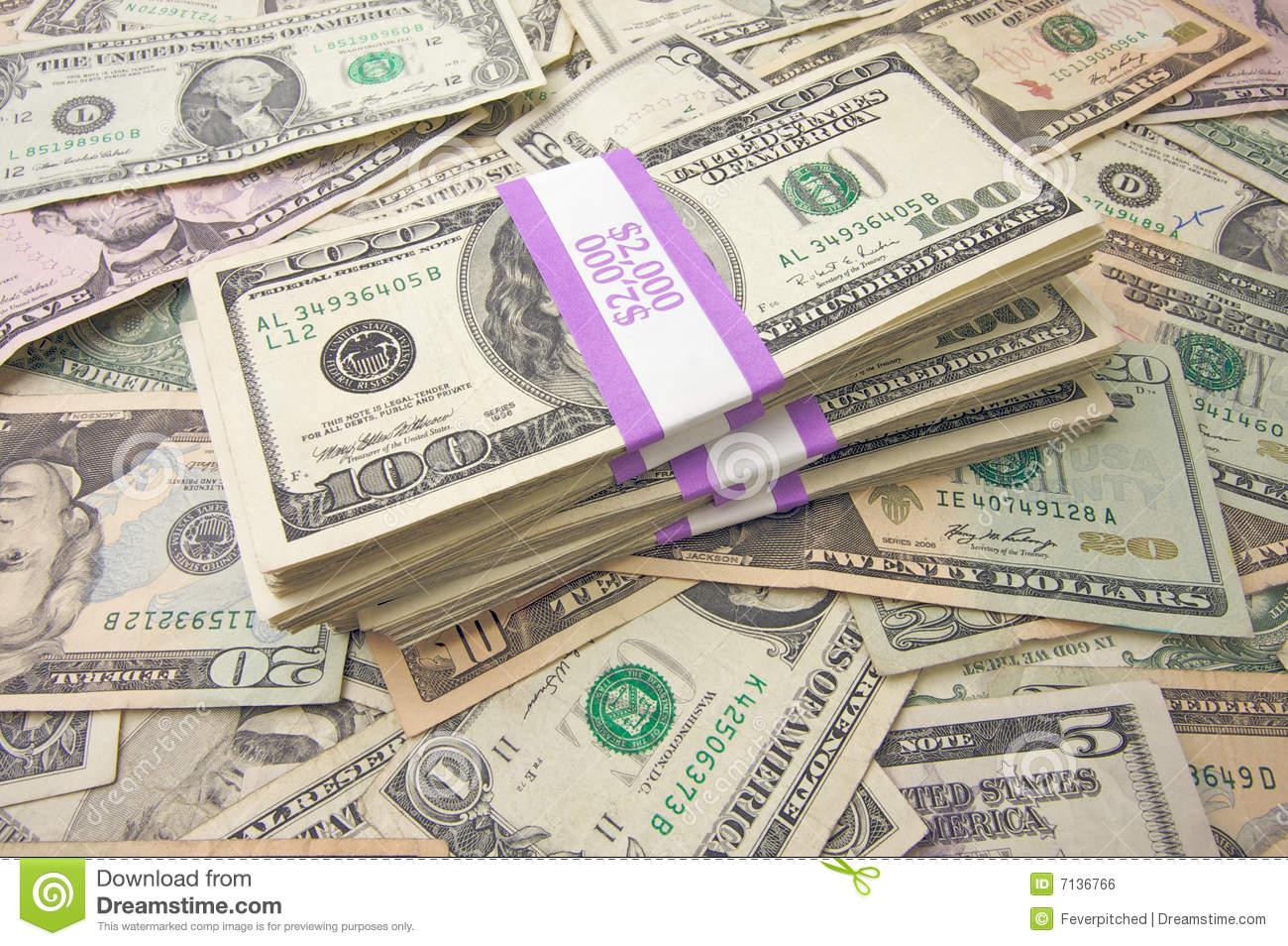 Stacks of Unites States Money Background - Contains Recent Currency ...