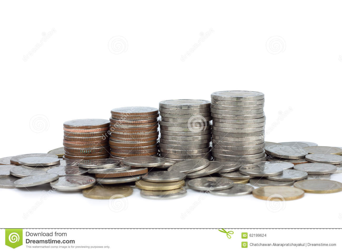 stack of money coin isolated on white background stock