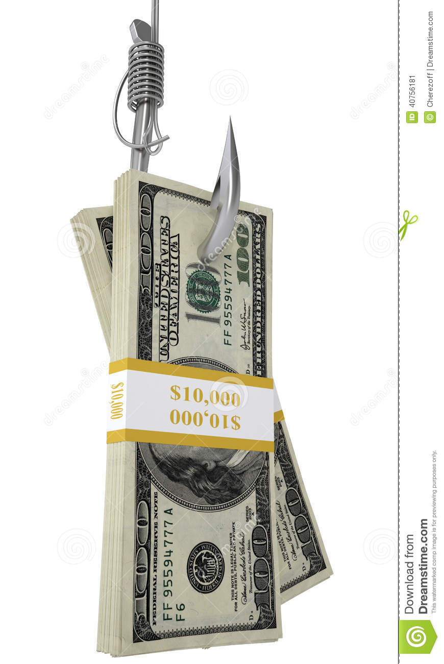 Stack of money on the fishing hook isolated on white for Fish for cash