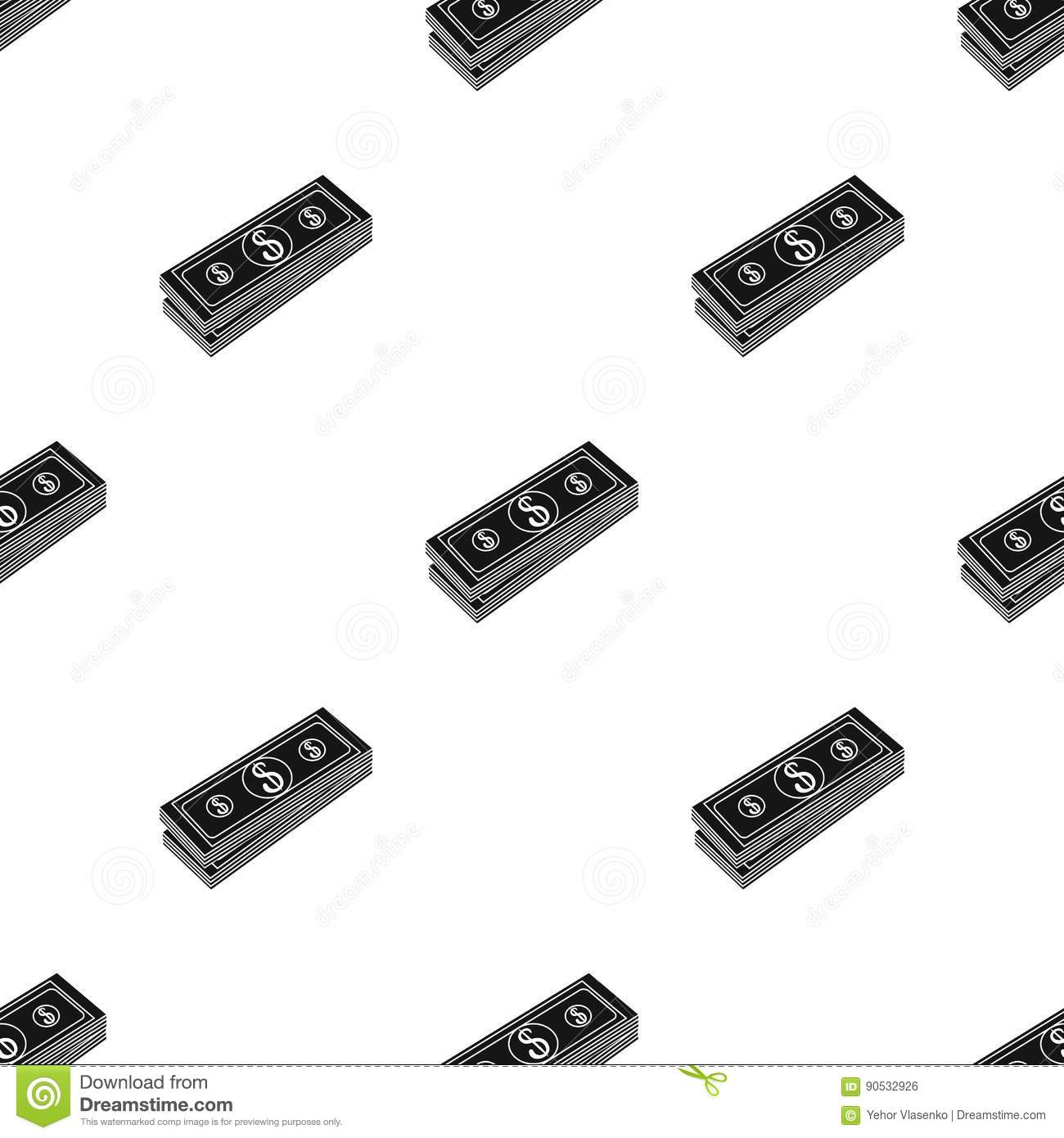 stack of money icon in black style isolated on white