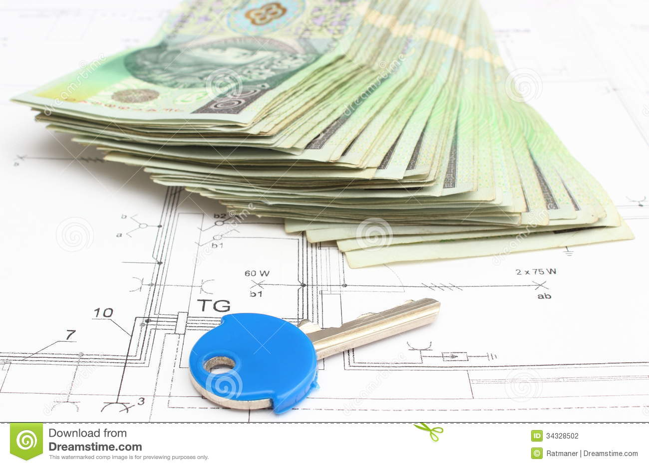 Stack of money with key lying on the housing plan stock for How contractors make money