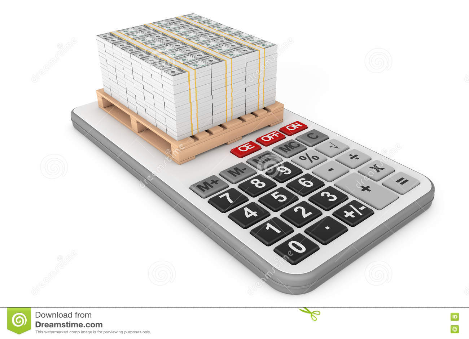 Stack Of Money Over Calculator  3d Rendering Stock Illustration
