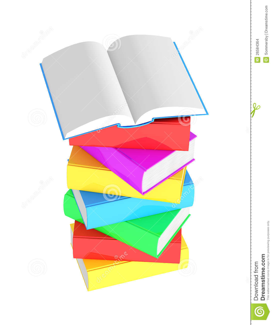 Stack Of Multicolored Books With Open Book Stock Illustration
