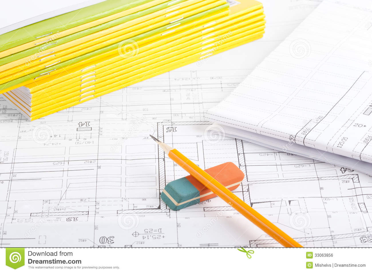 Stack Of Notebooks Pencil And Eraser Stock Photo Image Architectural Drawings Diagram On Top