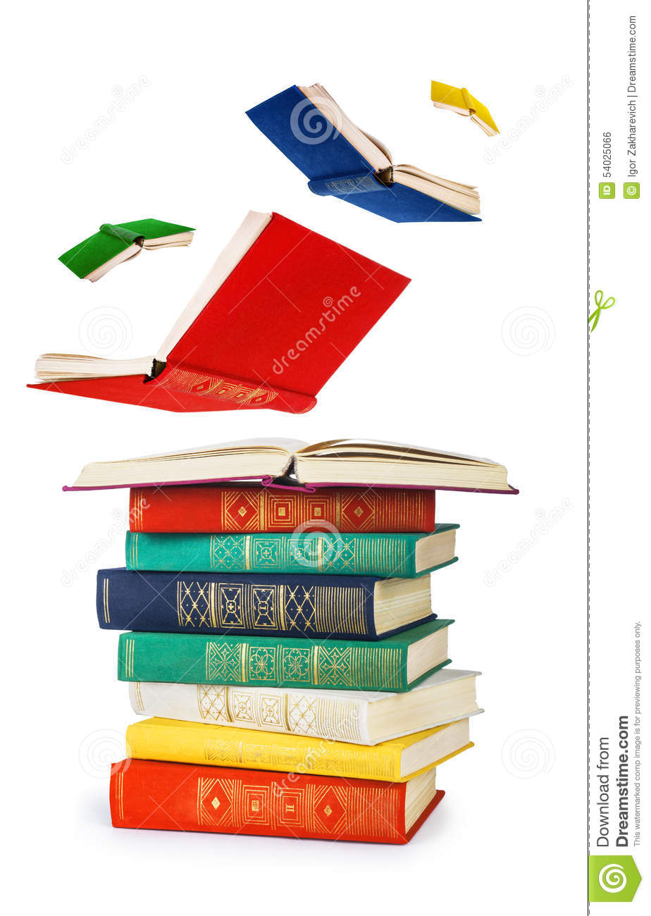 Book Cover Fly Iq Black : Stack of old books and flying stock photo image