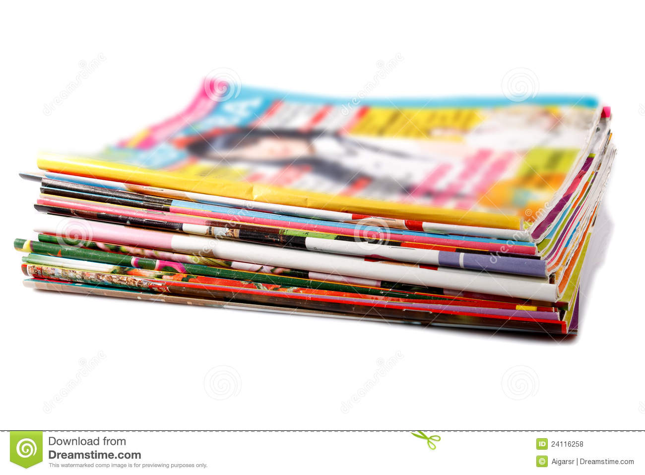 Stack of old colored magazines royalty free stock photos for Old magazines