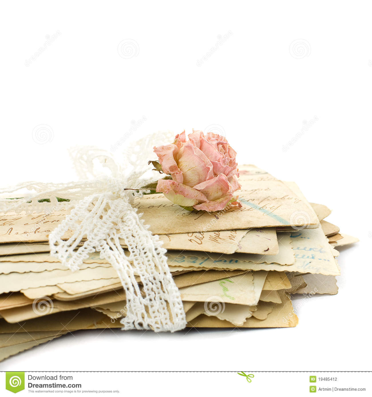 Stack of old love letters, lace and rose flower