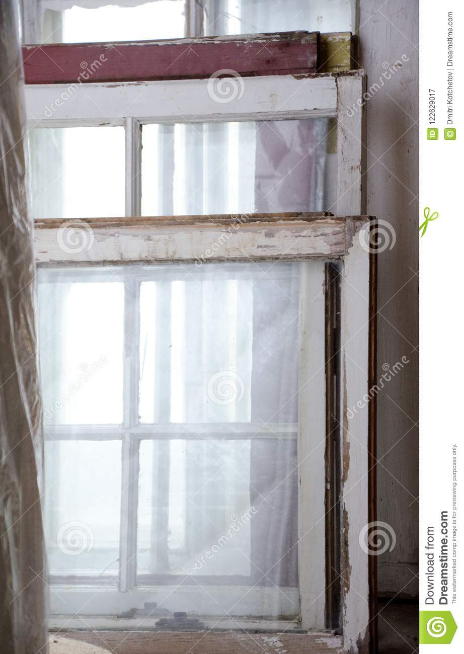 Variety Of Old Wooden Windows In Antique Shop Stock Image - Image of ...