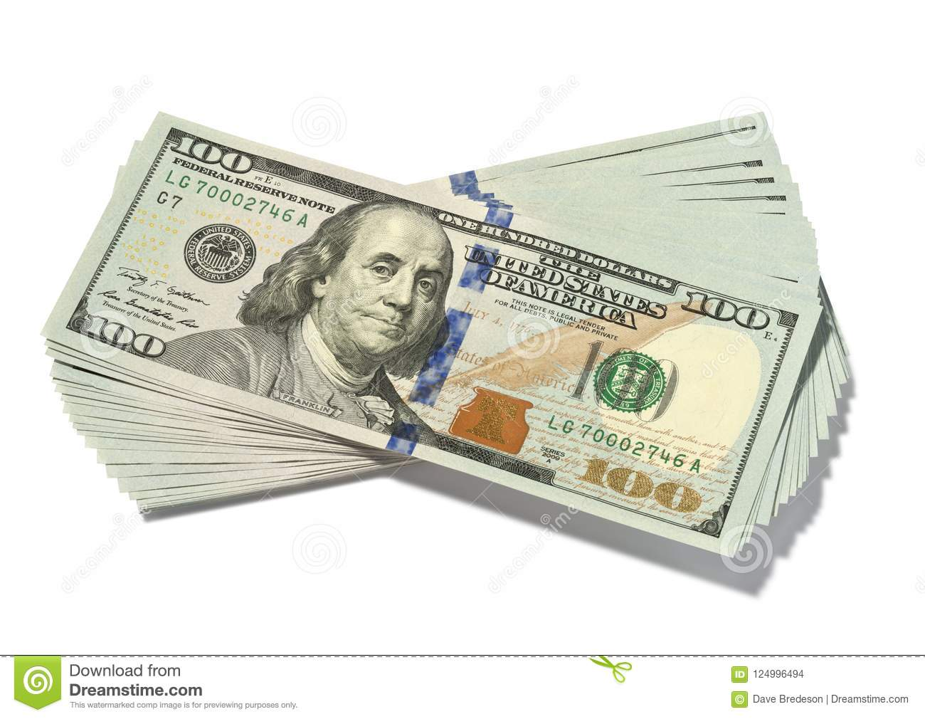 Stack One Hundred Dollar Bills Isolated