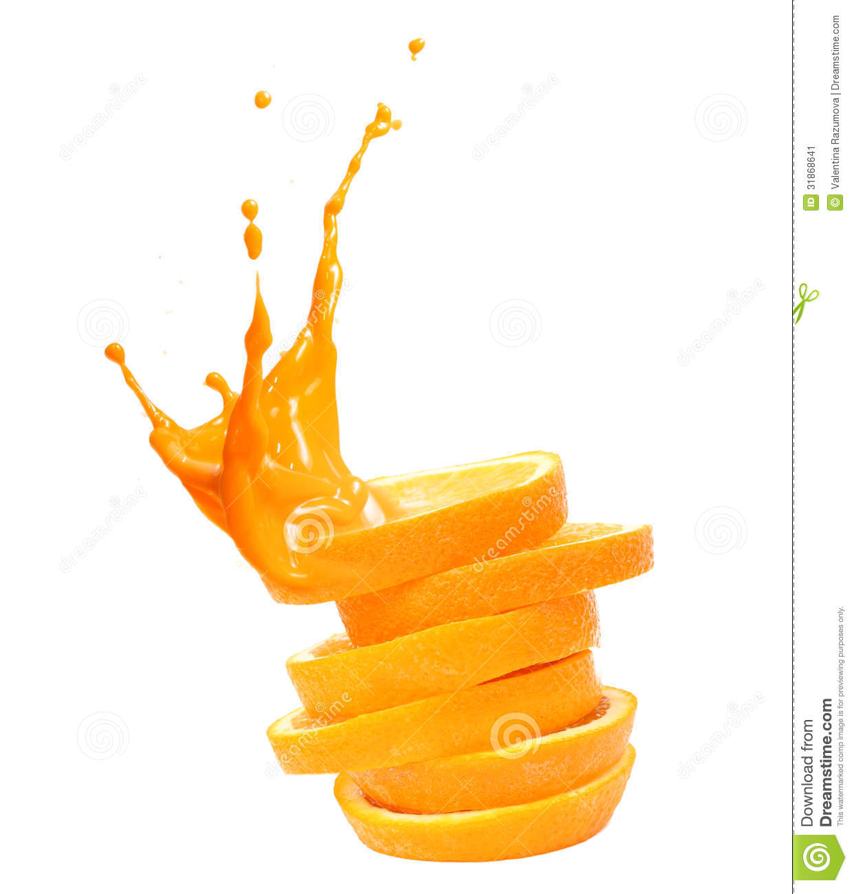 stack of orange fruit slices with juice splash stock