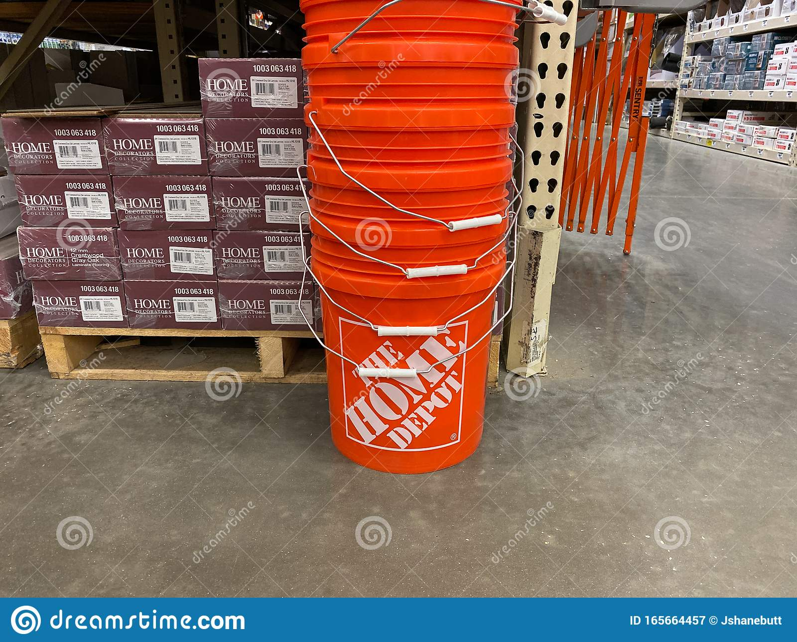 A Stack Of Orange Plastic Busckets Home Depot Home Improvement Store That Have The Company Logo On Them Editorial Photography Image Of Products Equipment 165664457