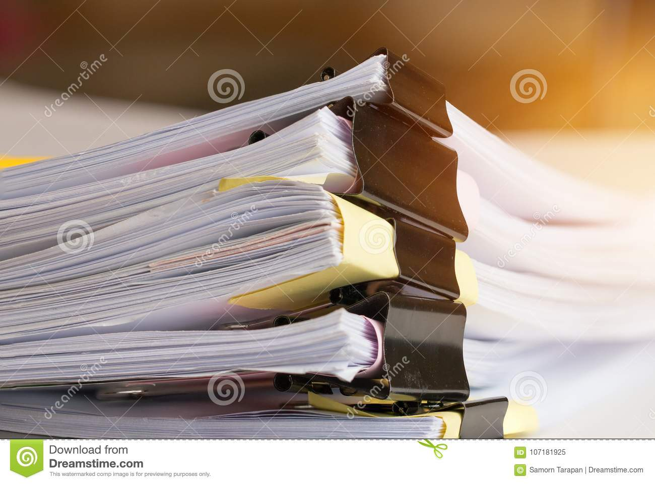 Stack of Paper documents with clip, Pile of unfinished documents