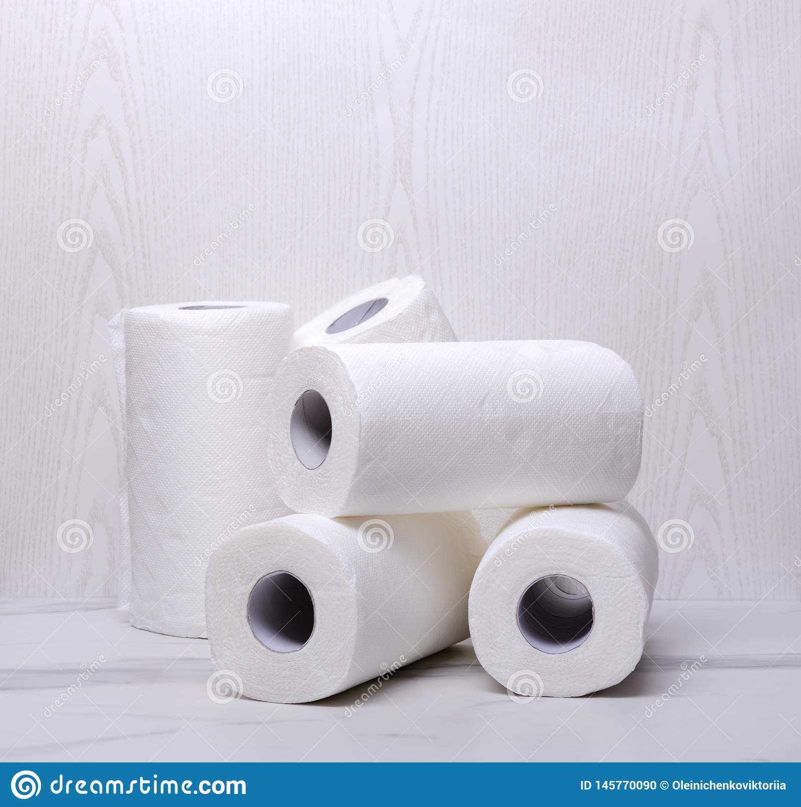 Stack Of Paper Towels White And Soft Rolled Paper For Cleaning The House Stock Photo Image Of Background Roll 145770090