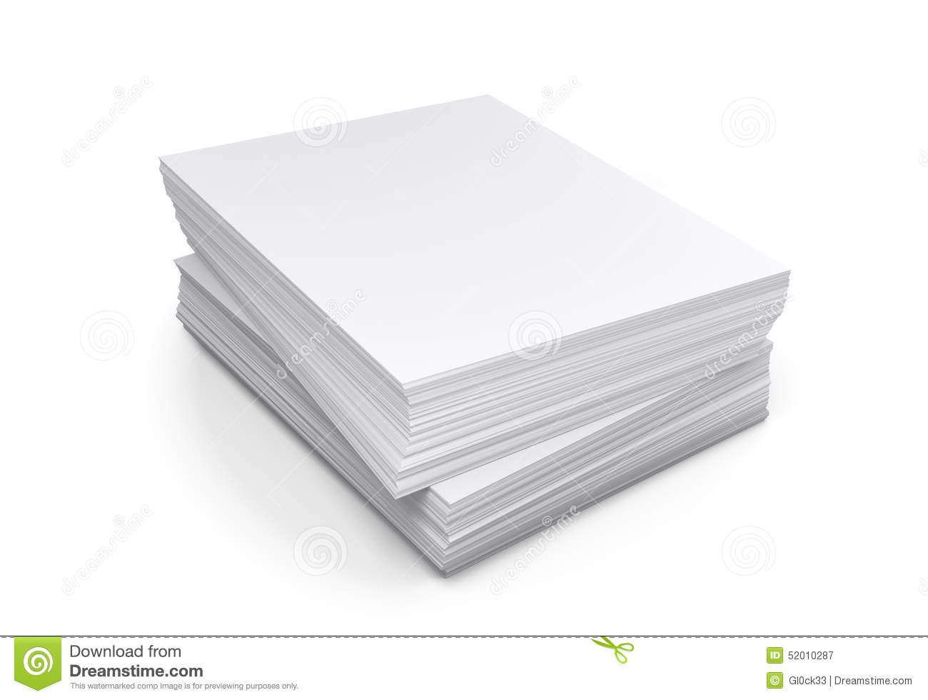 stack of papers on white background stock illustration