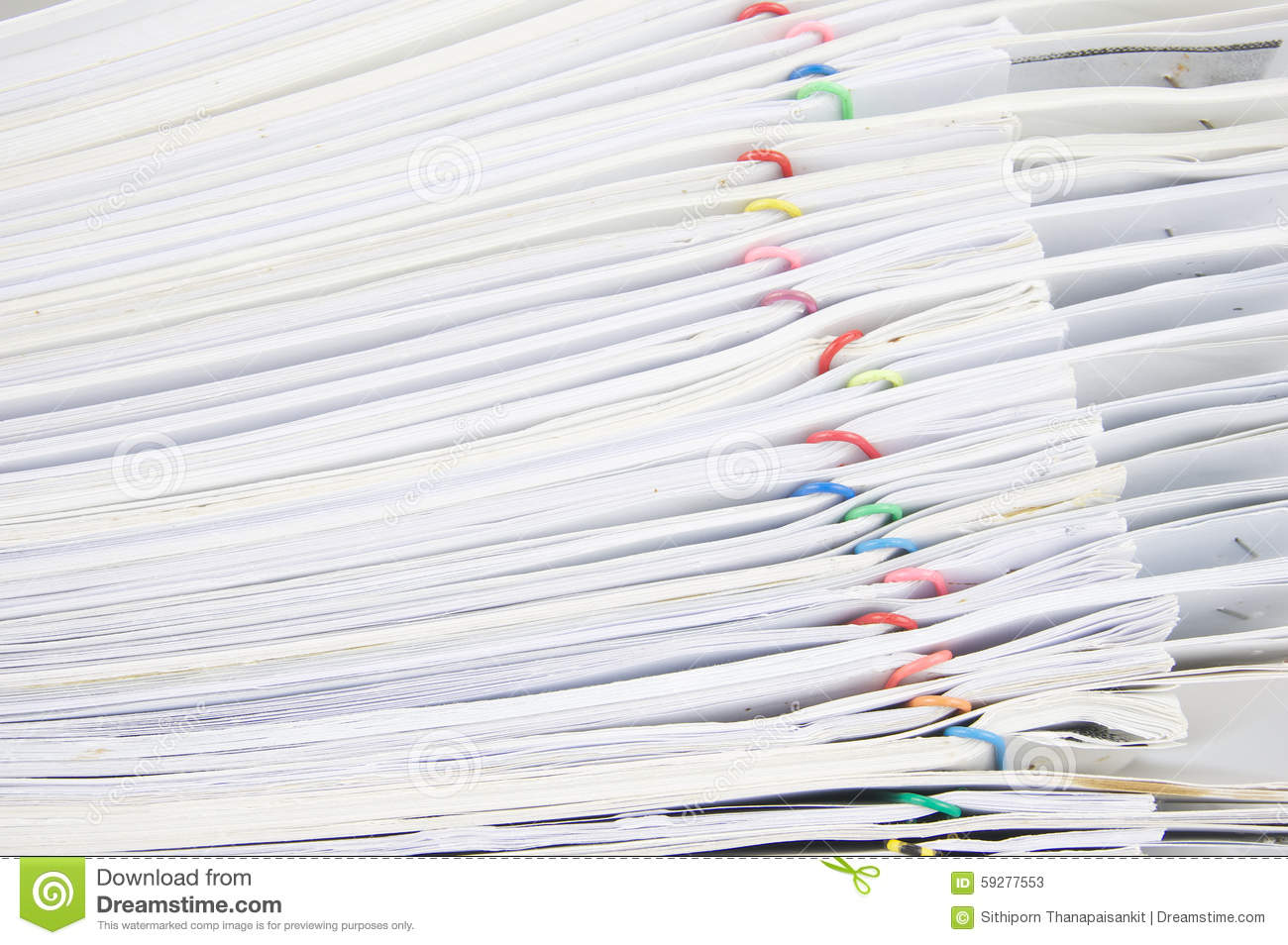 Stack Paperwork With Colorful Paper Clip Overlap Old Report Stock ...
