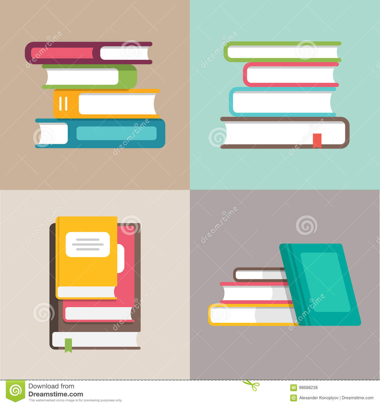 Stack or pile of books vector icons in a flat style