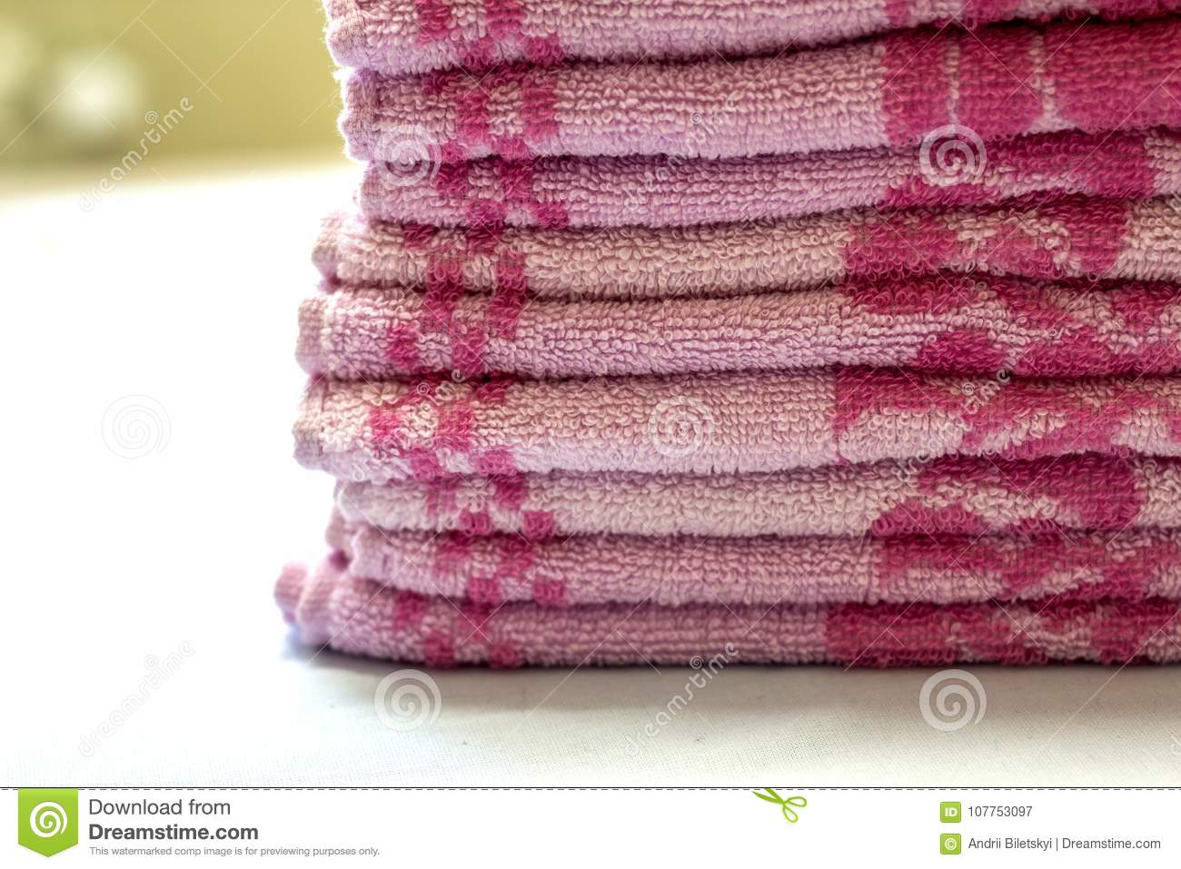download stack of pink bath towels close up with blurred background stock image image - Pink Bathroom Towels