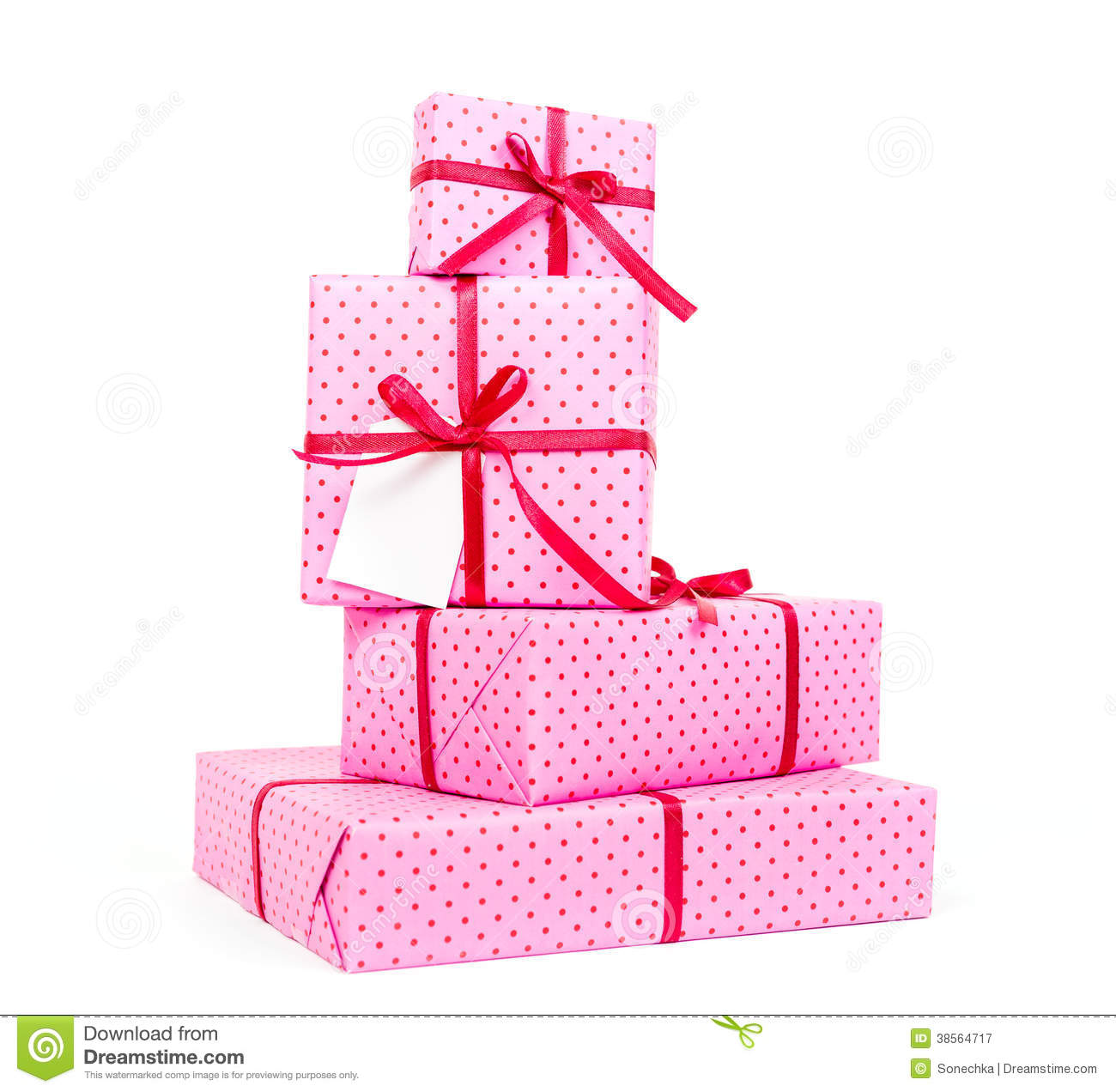 Stack of pink presents stock image ribbons