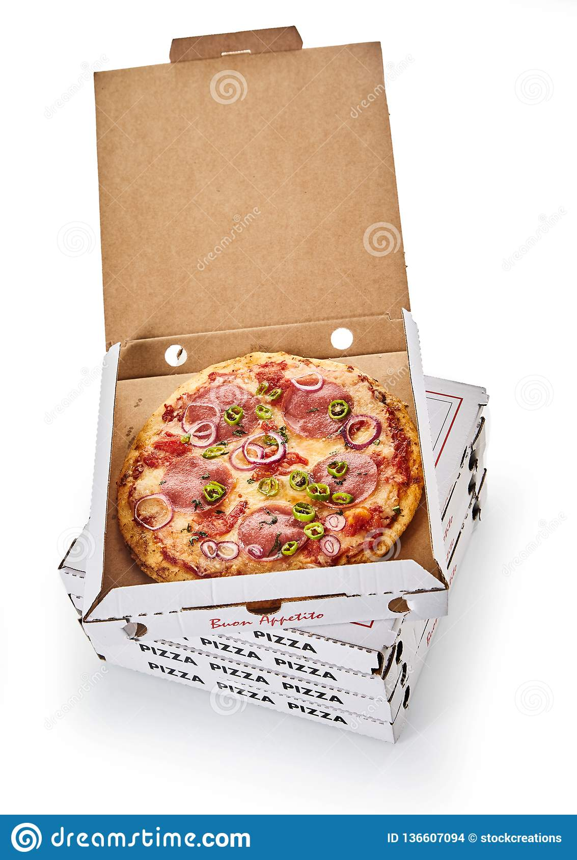 Stack of pizza boxes on white background
