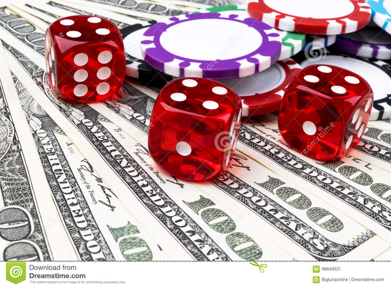 Stack Of Poker Chips With Dice Rolls On A Dollar Bills Money Poker Table At The Casino Poker Game Concept Playing A Game Stock Image Image Of Crooked Evening 98649331