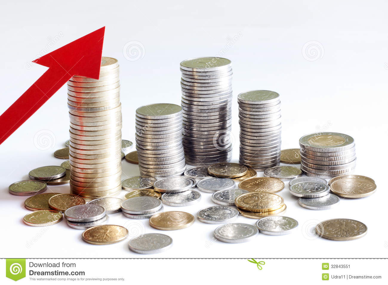 Stack of polish money increase finance abstract sign