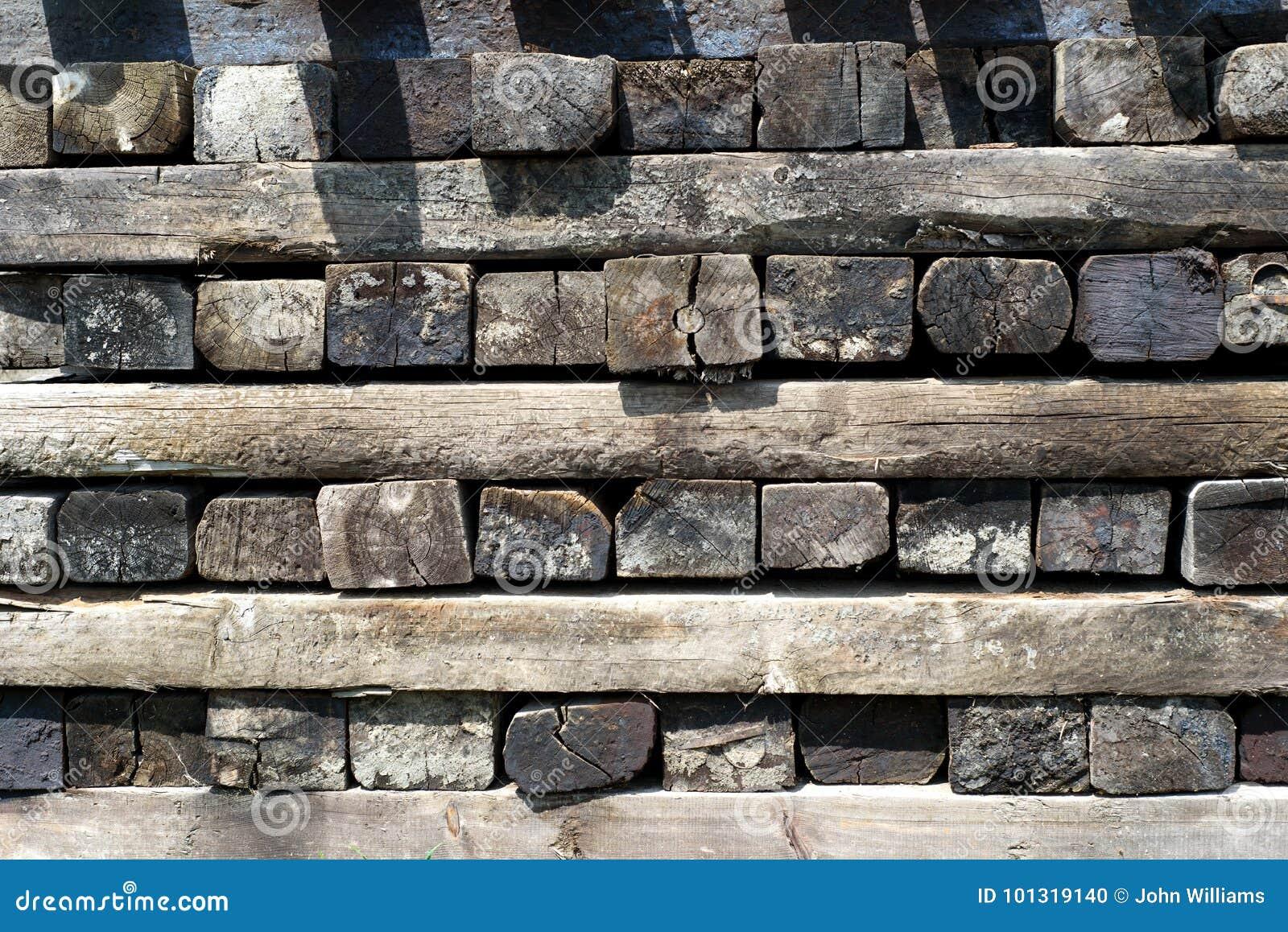 Stack of Railway Sleepers stock photo  Image of coal - 101319140