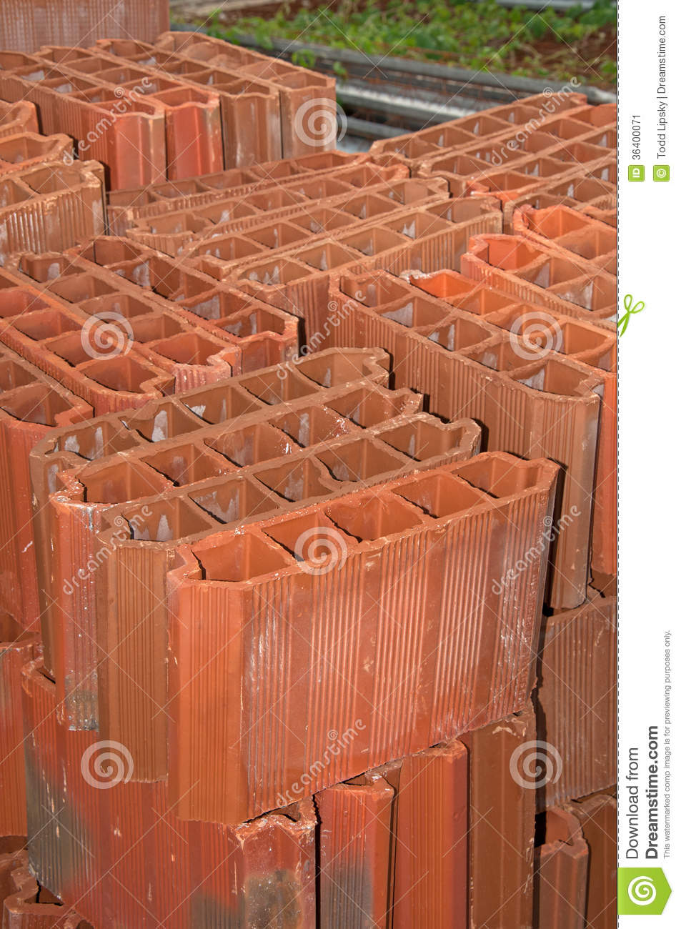Red Clay Bricks : Stack of red clay brick stock image