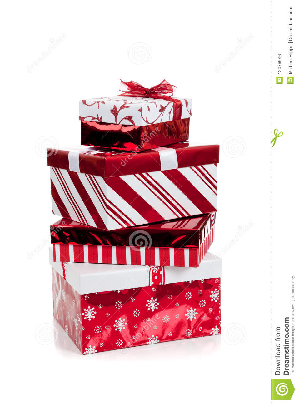 Stack Of Red And White Wrapped Christmas Presents Royalty Free ...