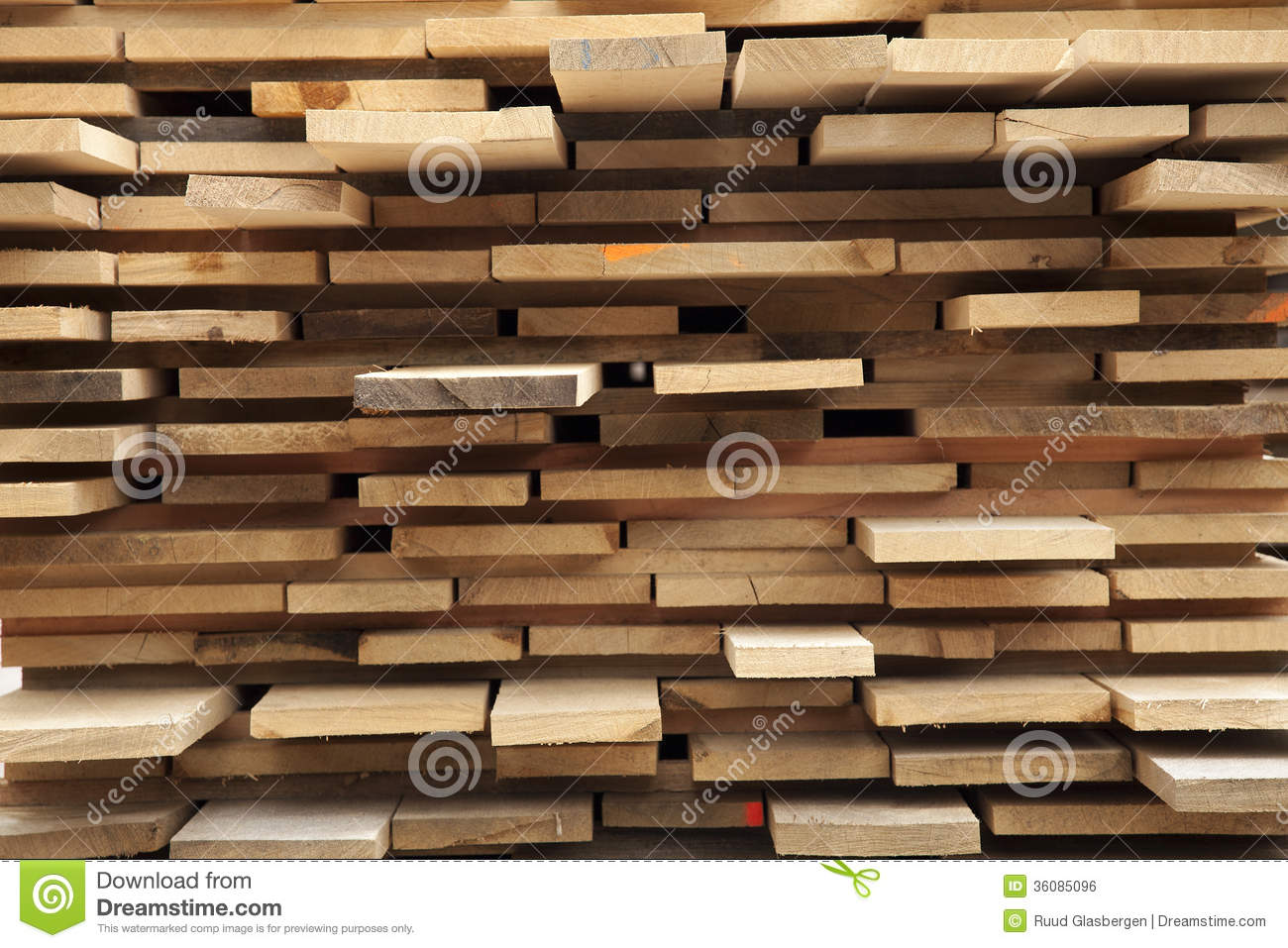 Rough Wood Planks ~ Stack with rough sawn wood planks royalty free stock image