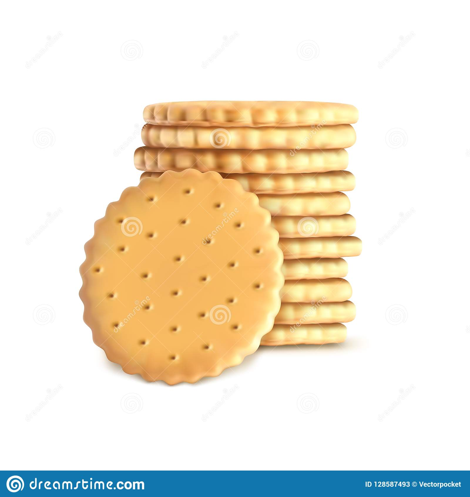 stack of round biscuit cookies. Template, mockup for crackers isolated on white background. Whole wheat biscuit