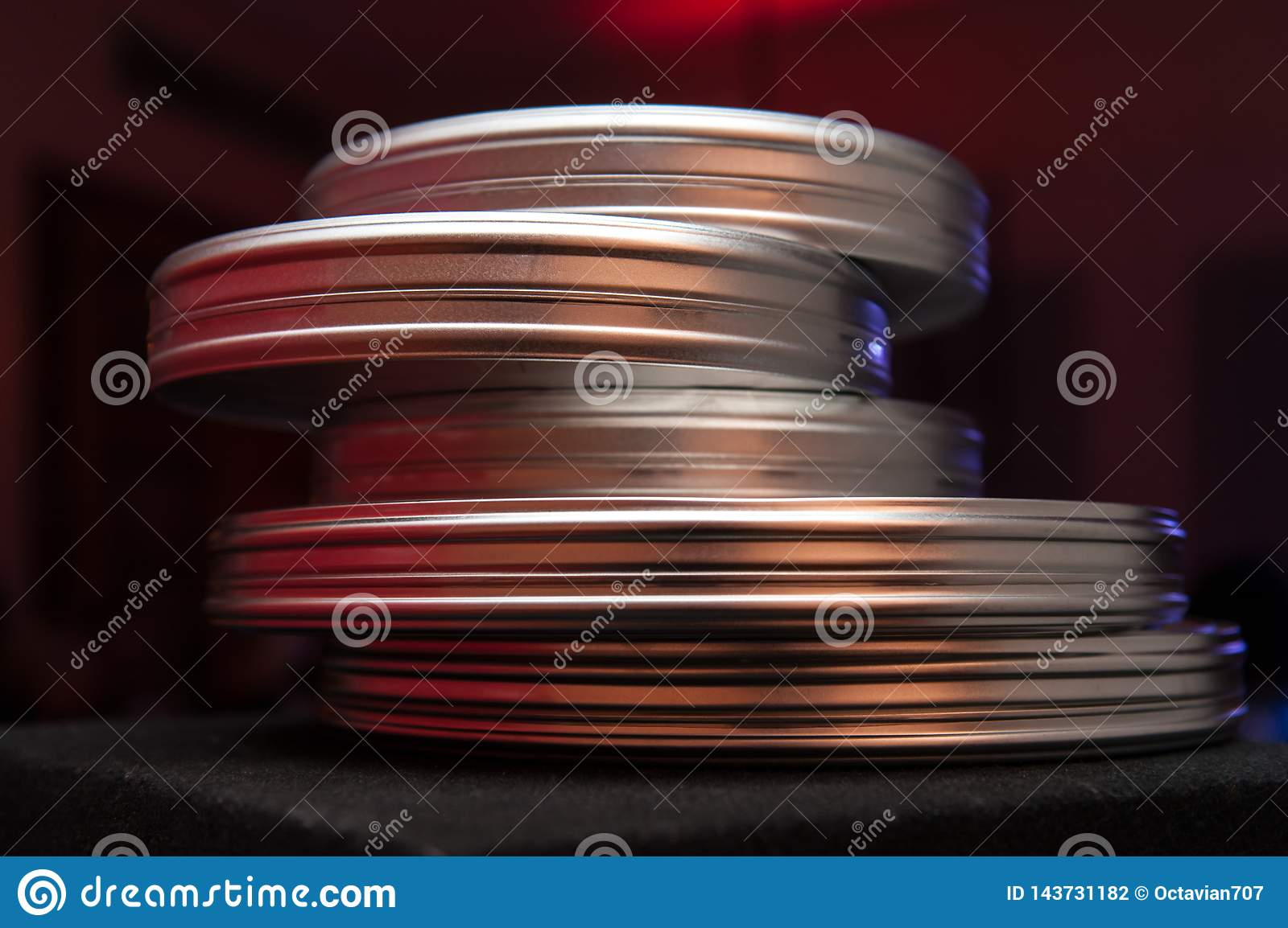 Stack of round film cases