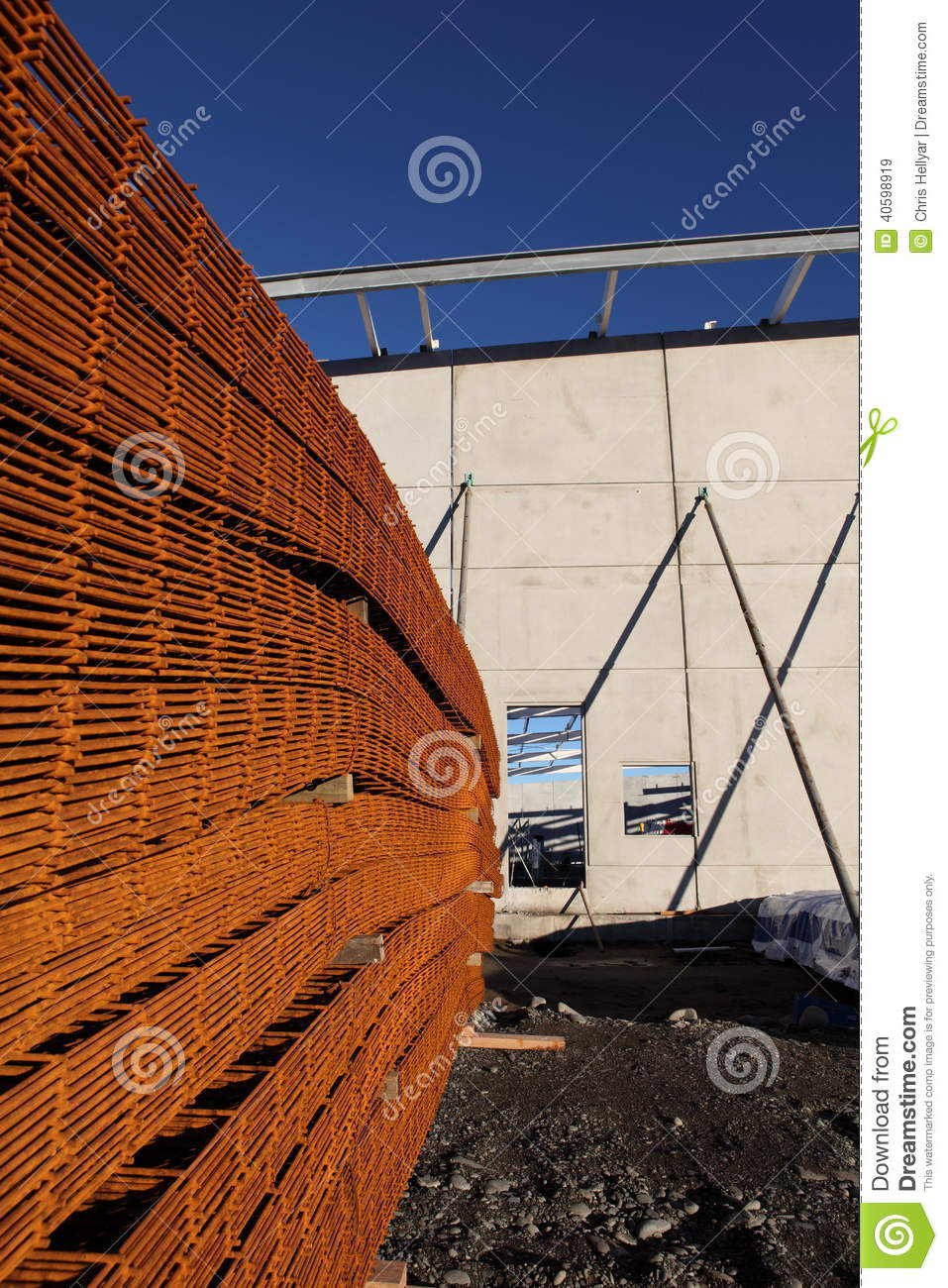 Stack of rusty reinforcing mesh.