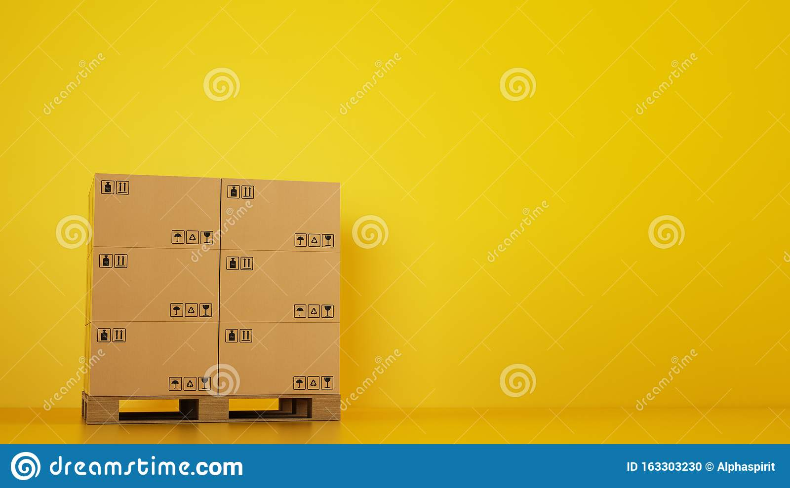 Pile of cardboard boxes on a wooden pallet with yellow background