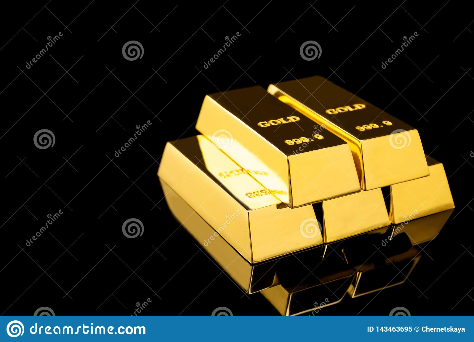 Stack Of Shiny Gold Bars On Black Background Stock Image ...
