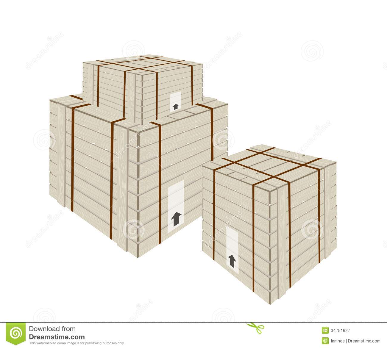 A stack of shipping box with steel strapping royalty free for Metal shipping crate