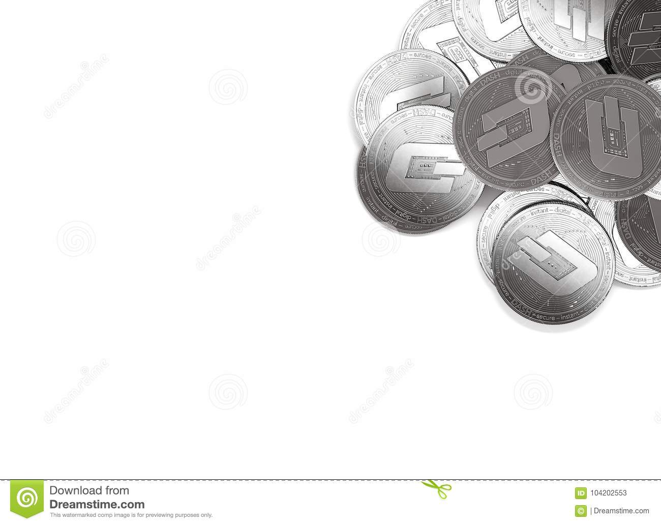 Stack of silver Dash coins in top-right corner isolated on white and copy space for your text.