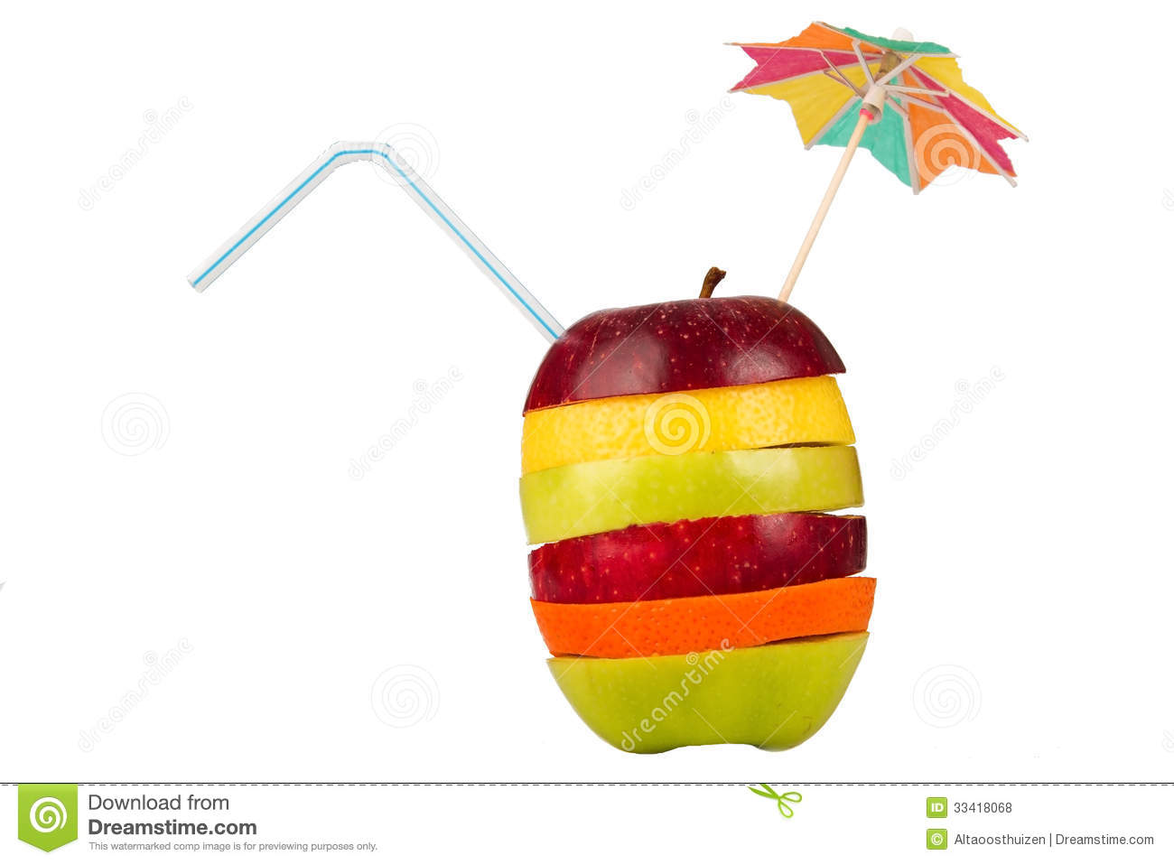 Stack of sliced fruit with straw and umbrella