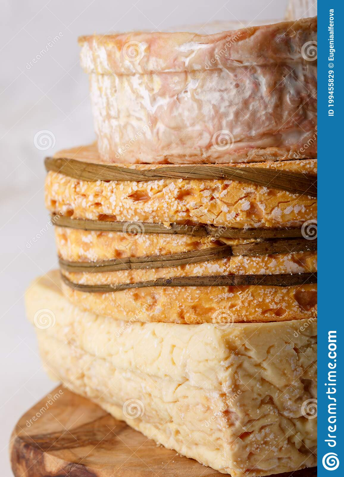 Stack Of Soft French Cow S Milk Cheese On A Cutting Board On White Camembert Livarote Pont L Eveque Cheese From Normandy Clo Stock Image Image Of Appetizer Meal 199455829