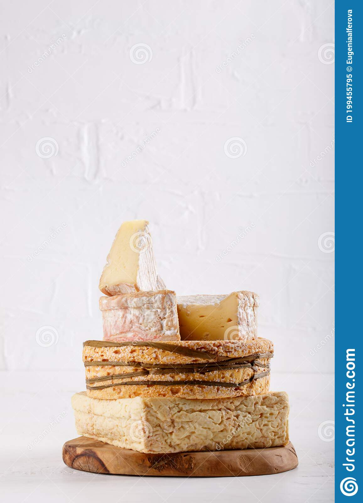 Stack Of Soft French Cow S Milk Cheese On A Cutting Board On White Camembert Livarote Pont L Eveque Cheese From Normandy Cop Stock Image Image Of Meal Cuisine 199455795