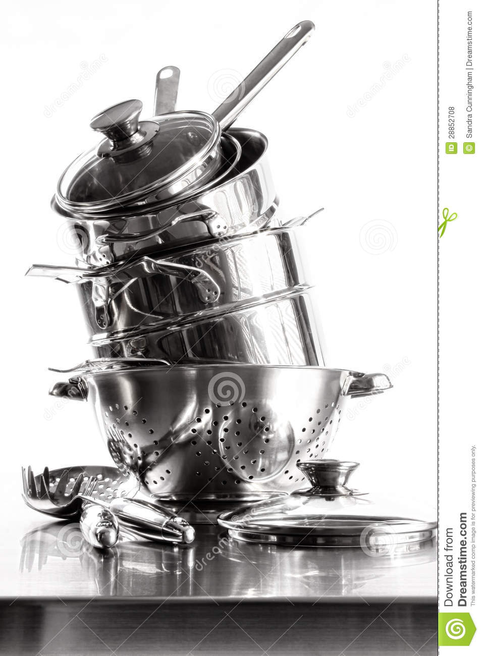 stack with stainless steel pots and pans on white stock photo image of dinner utensils 28852708. Black Bedroom Furniture Sets. Home Design Ideas