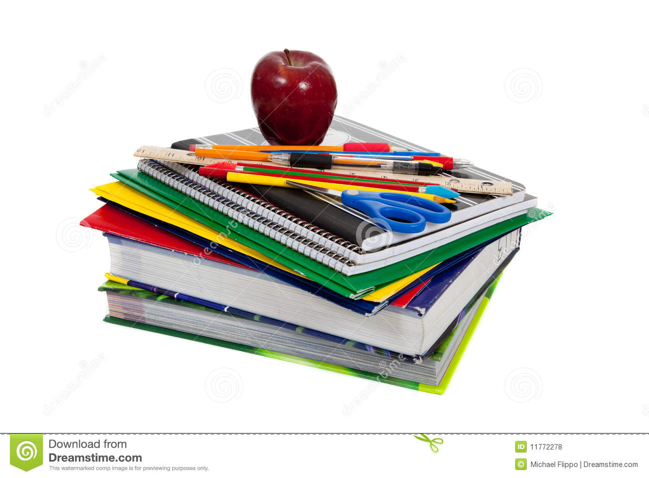 supplies stack textbooks books pencils pens folders homework apple colored royalty