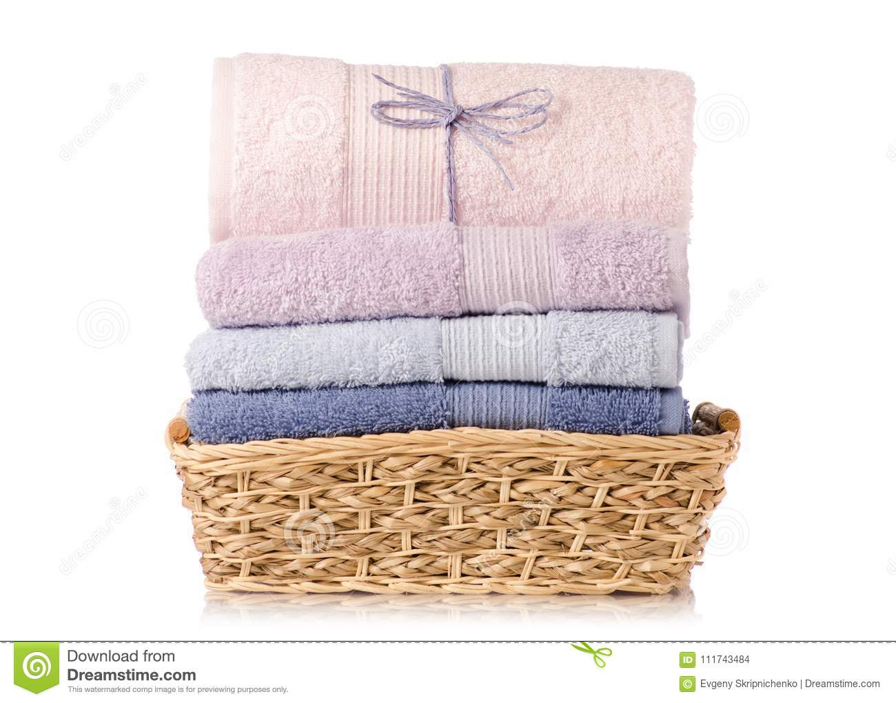 A Stack Towel In Basket Stock Photo Image Of Heap Bathroom 111743484