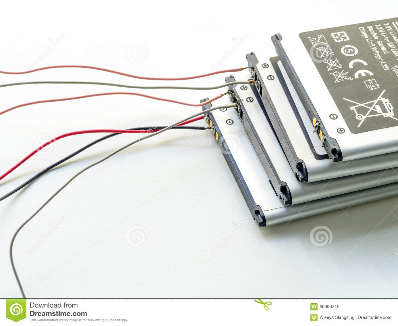 Stack Of Used Lithium Iron Battery With Wire Stock Image How To A Telephone The Removed From Mobile Phone